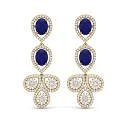 9.75 ctw Sapphire & VS Diamond Earrings 18K Yellow Gold