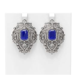 15.07 ctw Sapphire & Diamond Earrings 18K White Gold