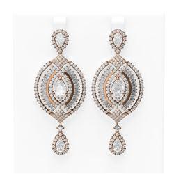 9.91 ctw Diamond Earrings 18K Rose Gold