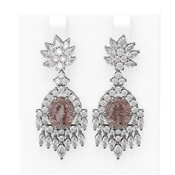 15.5 ctw Morganite & Diamond Earrings 18K White Gold