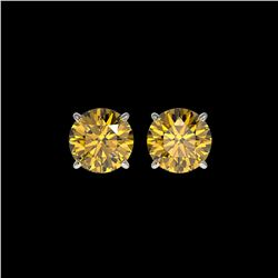1.97 ctw Certified Intense Yellow Diamond Stud Earrings 10K White Gold