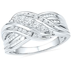 10kt White Gold Round Diamond 5-Stone Crossover Band Ring 1/2 Cttw