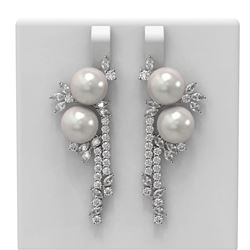 6.17 ctw Diamond and Pearl Earrings 18K White Gold