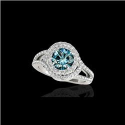 2.15 ctw SI Certified Fancy Blue Diamond Halo Ring 10K White Gold