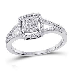 10kt White Gold Round Diamond Square Frame Cluster Split-shank Ring 1/4 Cttw