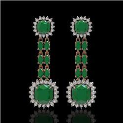 19.88 ctw Emerald & Diamond Earrings 14K Rose Gold