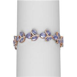 31.02 ctw Tanzanite & Diamond Bracelet 18K Rose Gold