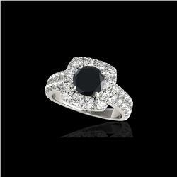 2.25 ctw Certified VS Black Diamond Solitaire Halo Ring 10K White Gold