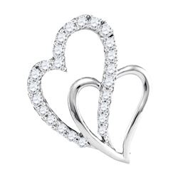 10kt White Gold Round Diamond Double Heart Pendant 3/8 Cttw