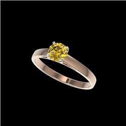 .77 ctw Certified Intense Yellow Diamond Engagement Ring 10K Rose Gold