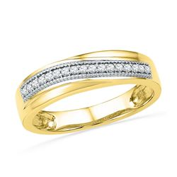 10k Yellow Gold Round Diamond Wedding Anniversary Band 1/6 Cttw