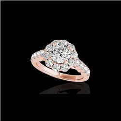 2.35 ctw Certified Diamond Solitaire Halo Ring 10K Rose Gold