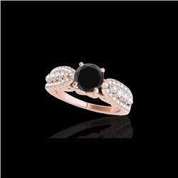 1.7 ctw Certified VS Black Diamond Solitaire Ring 10K Rose Gold
