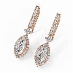 3 ctw Marquise Cut Diamond Designer Earrings 18K Rose Gold