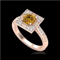 1.1 ctw Intense Fancy Yellow Diamond Art Deco Ring 18K Rose Gold