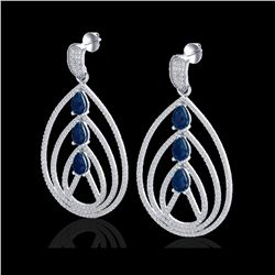 4 ctw Sapphire & Micro Pave VS/SI Diamond Earrings 18K White Gold