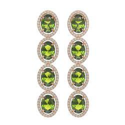 11.8 ctw Tourmaline & Diamond Micro Pave Halo Earrings 10K Rose Gold