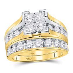 14kt Yellow Gold Princess Diamond Bridal Wedding Engagement Ring Band Set 3.00 Cttw