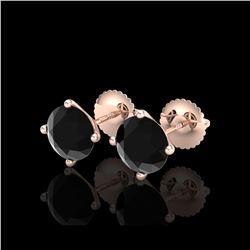 2.5 ctw Fancy Black Diamond Art Deco Stud Earrings 18K Rose Gold