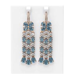 27.86 ctw Blue Topaz & Diamond Earrings 18K Rose Gold
