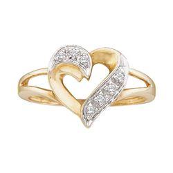 10kt Yellow Gold Round Diamond Split-shank Heart Ring 1/20 Cttw