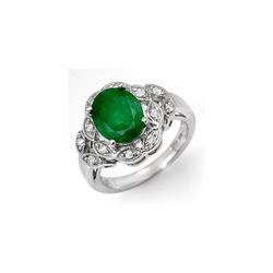 2.75 ctw Emerald & Diamond Ring 18K White Gold