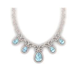 40.45 ctw Sky Topaz & VS Diamond Necklace 18K Rose Gold