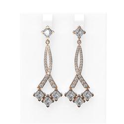 5.39 ctw Princess Diamond Earrings 18K Rose Gold