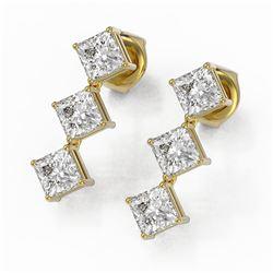 2 ctw Princess Cut Diamond Designer Earrings 18K Yellow Gold