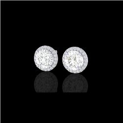 3.50 ctw Halo VS/SI Diamond Micro Pave Earrings 18K White Gold