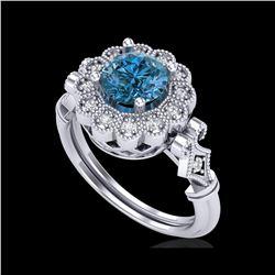 1.2 ctw Intense Blue Diamond Engagement Art Deco Ring 18K White Gold