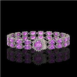 24.82 ctw Amethyst & Diamond Bracelet 14K White Gold