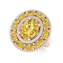7.21 ctw Canary Citrine & VS Diamond Ring 18K Rose Gold