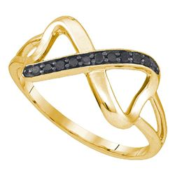 10kt Yellow Gold Round Black Color Enhanced Diamond Infinity Ring 1/10 Cttw