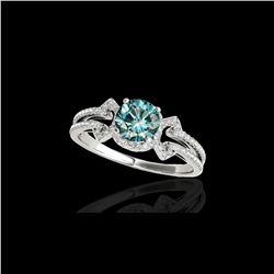 1.36 ctw SI Certified Fancy Blue Diamond Solitaire Ring 10K White Gold