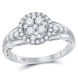 14kt White Gold Round Diamond Cluster Bridal Wedding Engagement Ring 3/4 Cttw