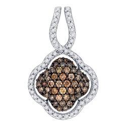 10kt Yellow Gold Round Brown Diamond Quatrefoil Pendant 1/2 Cttw
