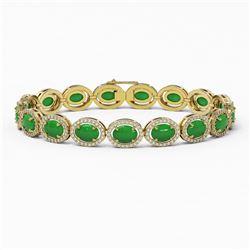 21.78 ctw Jade & Diamond Micro Pave Halo Bracelet 10K Yellow Gold