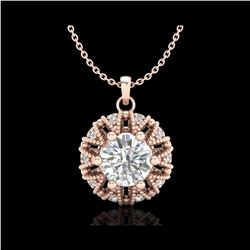 1.2 ctw VS/SI Diamond Art Deco Micro Pave Stud Necklace 18K Rose Gold