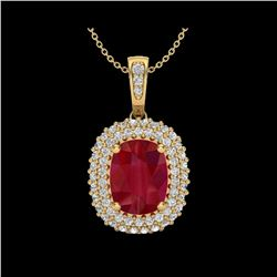 3.15 ctw Ruby & Micro Pave VS/SI Diamond Necklace 18K Yellow Gold