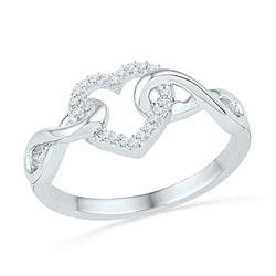 10kt White Gold Round Diamond Infinity Twist Heart Ring 1/10 Cttw