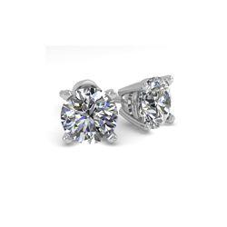 1.50 ctw VS/SI Diamond Stud Designer Earrings 14K White Gold