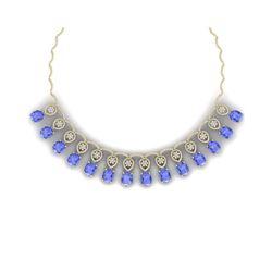 45.56 ctw Tanzanite & VS Diamond Necklace 18K Yellow Gold
