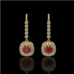 5.1 ctw Certified Ruby & Diamond Victorian Earrings 14K Yellow Gold