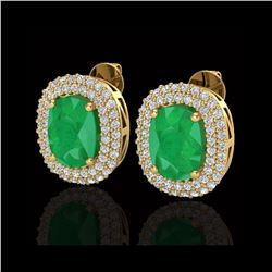 6.30 ctw Emerald & Micro Pave VS/SI Diamond Earrings 18K Yellow Gold