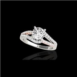 1.65 ctw Certified Diamond Solitaire Ring 10K White & Rose Gold