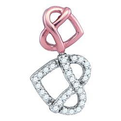 10kt Two-tone Gold Round Diamond Double Heart Pretzel Pendant 1/6 Cttw
