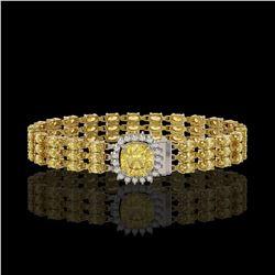 25.15 ctw Citrine & Diamond Bracelet 14K Yellow Gold