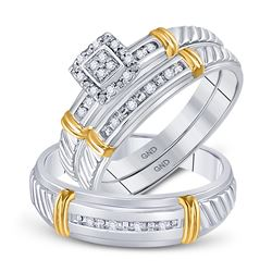 10kt Two-tone Gold His Hers Round Diamond Cluster Matching Bridal Wedding Ring Band Set 1/10 Cttw