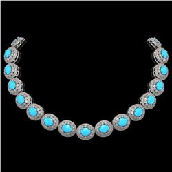 86.75 ctw Turquoise & Diamond Victorian Necklace 14K White Gold